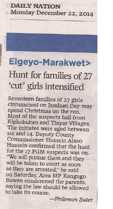 hunt for families who cut