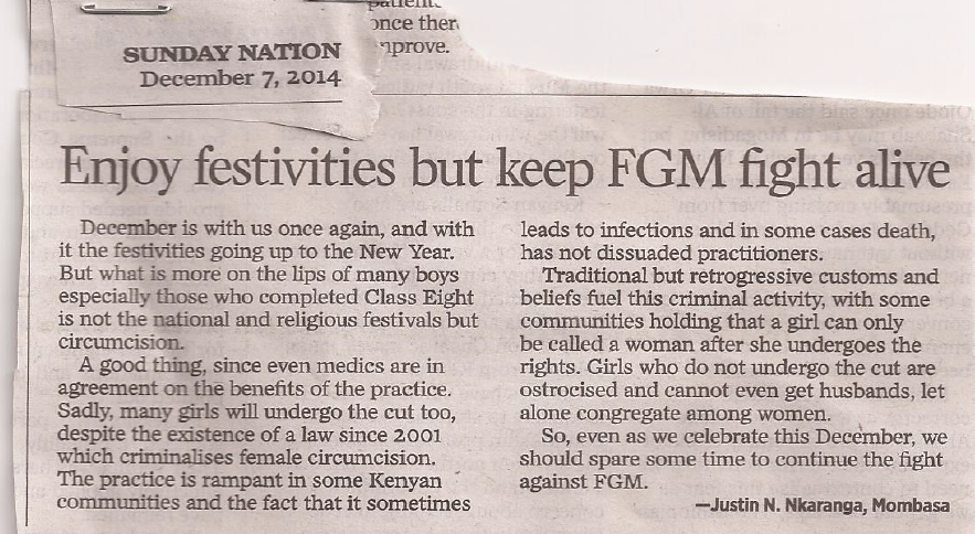 letter on festivities and fgm