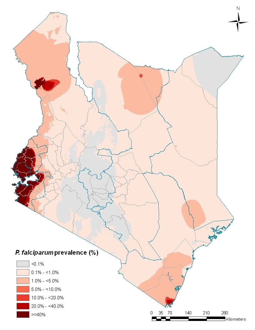 Malaria risk map for Kenya