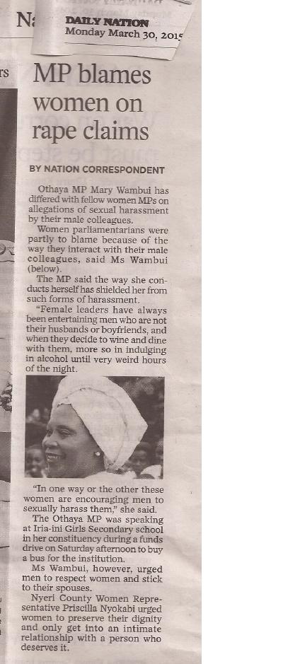 MP blames women