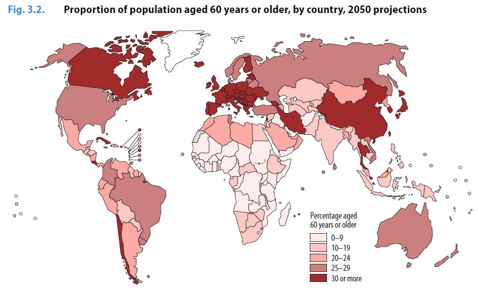 Proportion of elderly by 2050, source WHO report